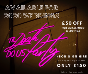 Neon wedding sign offer, Hertfordshire | JN Sounds